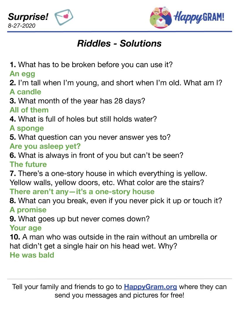 The Solutions to Riddles from the August 26th Surprise HappyGram