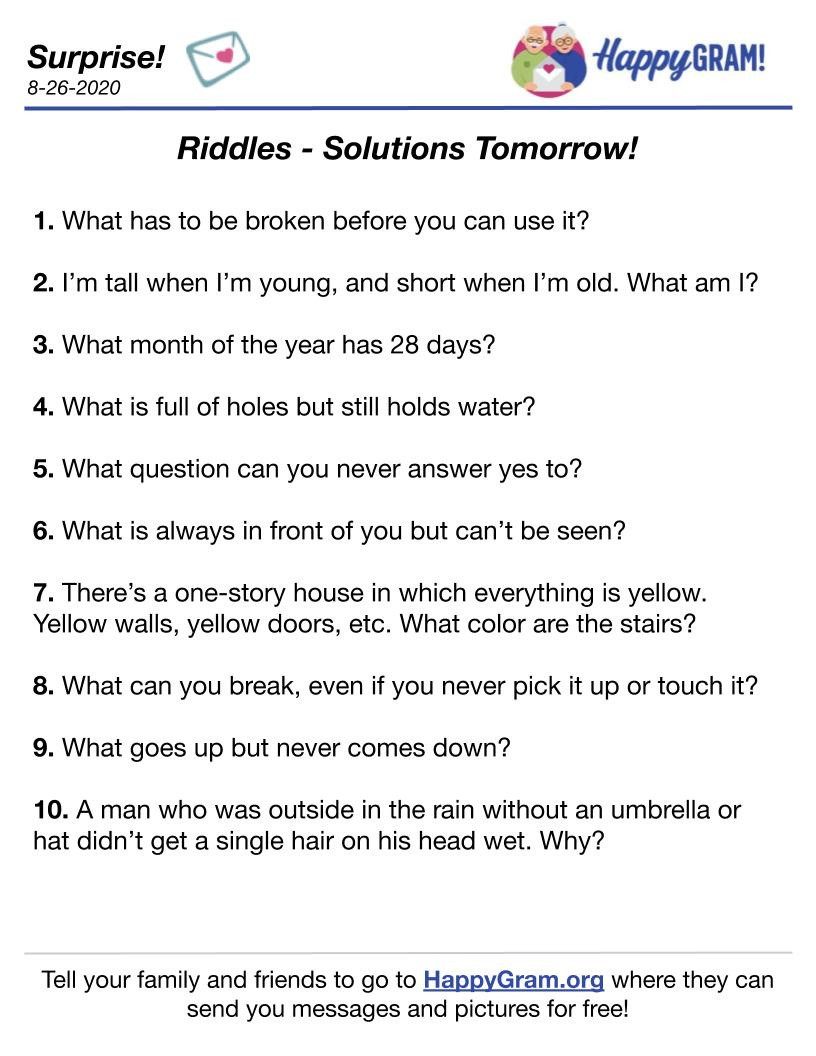 Fun Riddles for August 26th - Solutions Will Be Posted Tomorrow, August 27th